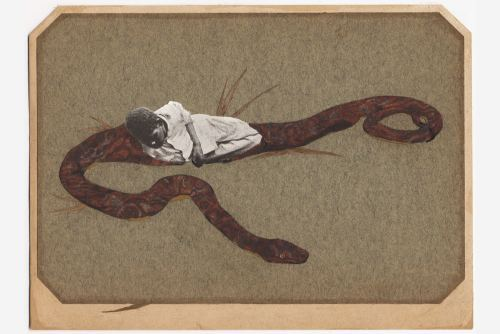 Stefan Danielsson, I Hide in Snakes, 2005. Collage, watercolor and dried grass on paper in unique frame, 6 x 7 in, 14 x 19 cm