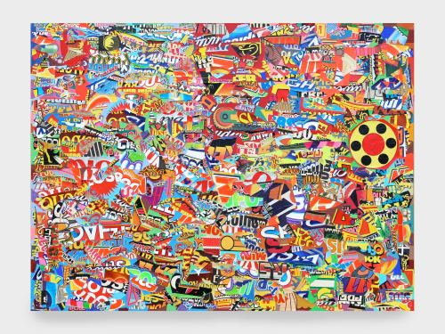 Joe Grillo, Off The Hook, 2010. Acrylic and collage on canvas, 30 x 40 in, 76 x 102 cm