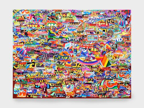 Joe Grillo, ?Surf?, 2010. Acrylic and collage on canvas, 30 x 40 in, 76 x 102 cm