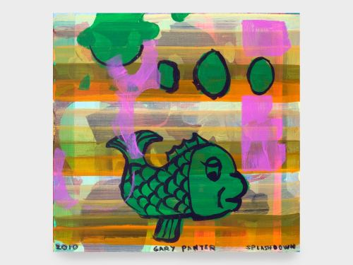 Gary Panter, Splashdown, 2010. Acrylic on masonite, 12 x 12 in, 31 x 31 cm