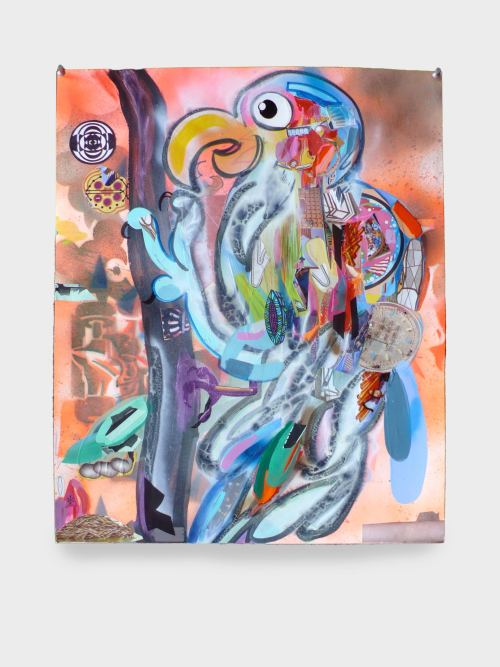 Joe Grillo, Robotic Bird, 2009. Acrylic, spraypaint and collage on paper, 24 x 19 in, 61 x 48 cm