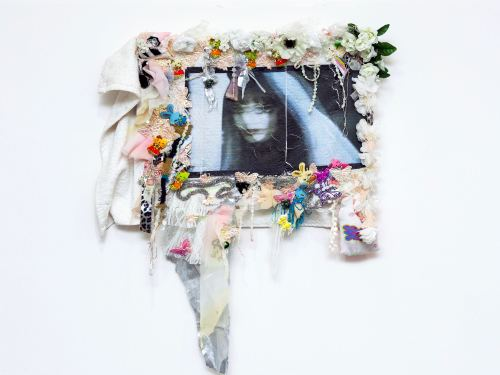 Jamie Krasner, China Gothic (White Woman), 2014. Image Transfer and textile on fabric, 24 x 26 in, 60 x 65 cm