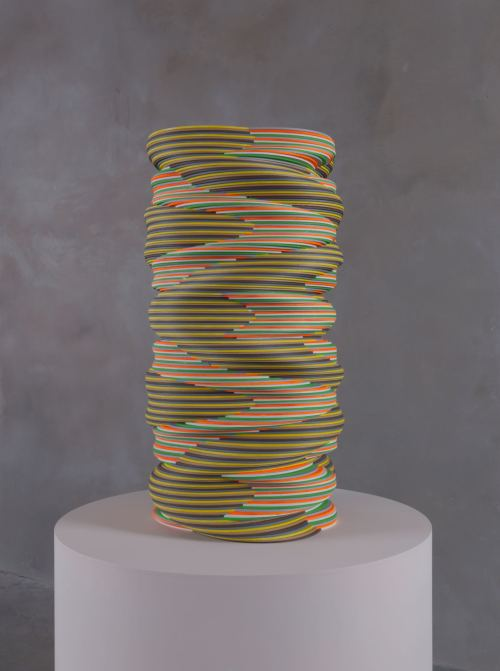 Ara Peterson, Untitled Tower, 2012. Acrylic paint on wood, 27 x 14 x 14 in, 69 x 35 x 35 cm