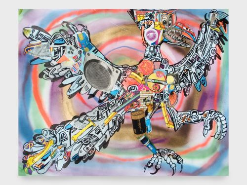 Joe Grillo, Archaeopteryx, 2010. Acrylic, Spraypaint and collage on paper, 24 x 19 in, 61 x 48 cm