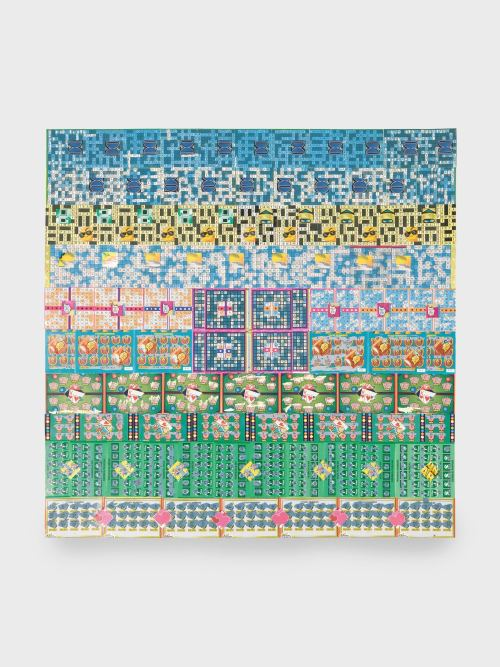 Melissa Brown, Sneak Peek, 2009. Collage $671 in used scratch-off lotto tickets, 28 x 28 in, 71 x 71 cm