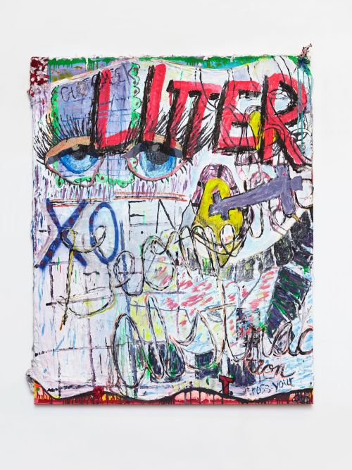 Alicia Gibson, Litter, 2017. Oil and various on muslin over canvas, 60 x 48 in, 152 x 122 cm