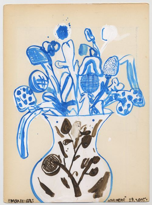 Eddie Martinez, Untitled Blue Plant, 2005. Acrylic and ink on paper, 15 x 11 in, 38 x 28 cm