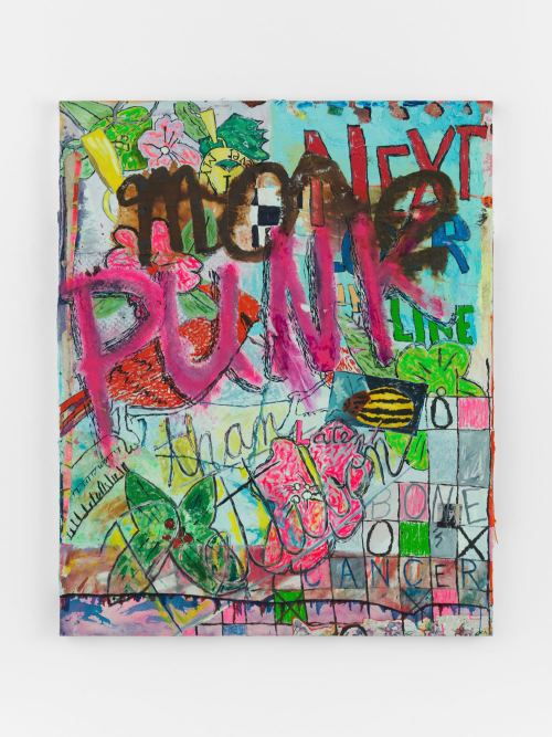 Alicia Gibson, More Punk than Pettibon, 2017. Oil and various on fabric over canvas, 60 x 48 in, 152 x 122 cm