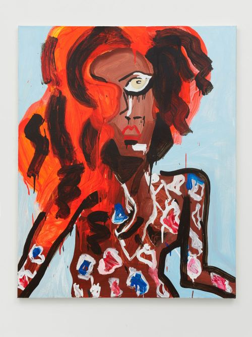 Katherine Bernhardt, Mermaid Rihanna, 2011. Acrylic on canvas, 60 x 48 in, 152 x 122 cm