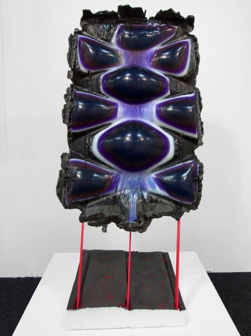 Jesse Greenberg, Face Stamp in Stance, 2014. Resin, pigment, bbs, metal, paint, 47 x 17 x 19 in, 119 x 43 x 48 cm