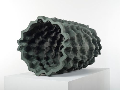 Ara Peterson, Dark Green Tube, 2010. Wood and acrylic paint, 22 x 22 x 37 in, 56 x 56 x 94 cm