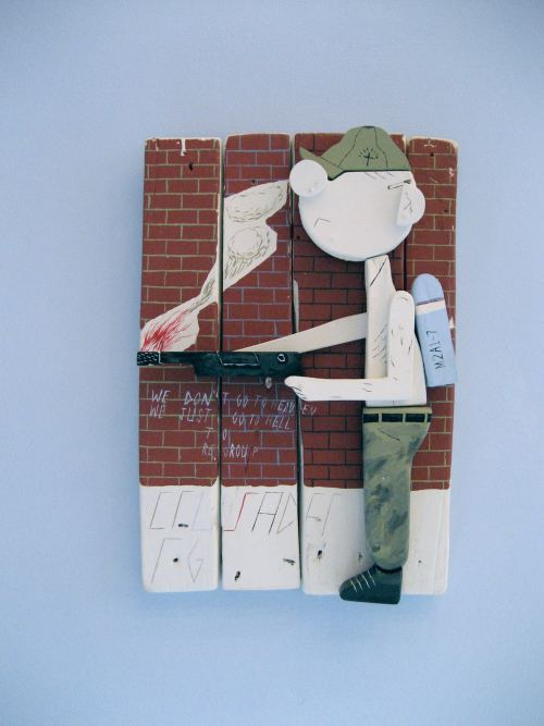 William Buzzell, Crusader, 2006. House-paint and shoe-dye on wood, 15 x 10 in, 37 x 25 cm