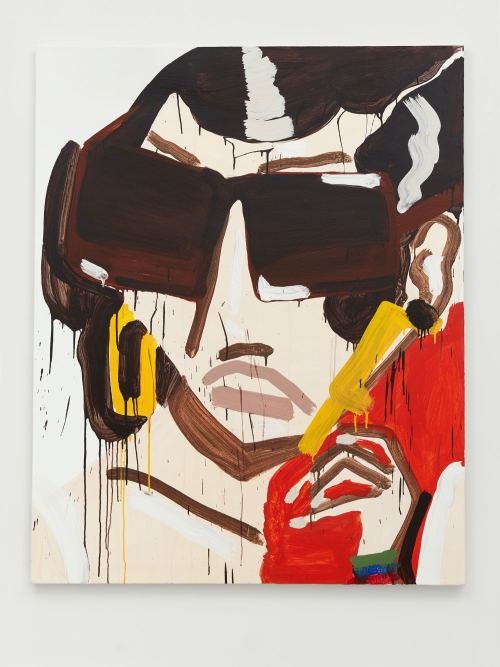 Katherine Bernhardt, Prada Yellow Earrings, 2011. Acrylic on canvas, 60 x 48 in, 152 x 122 cm